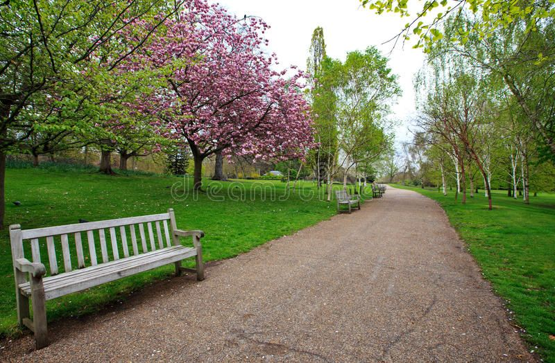 Spring In Hyde Park London A Bench And Walking Path In Hyde Park In London Uk Affiliate Park London London Park Hyde Park London Graphic Poster Art