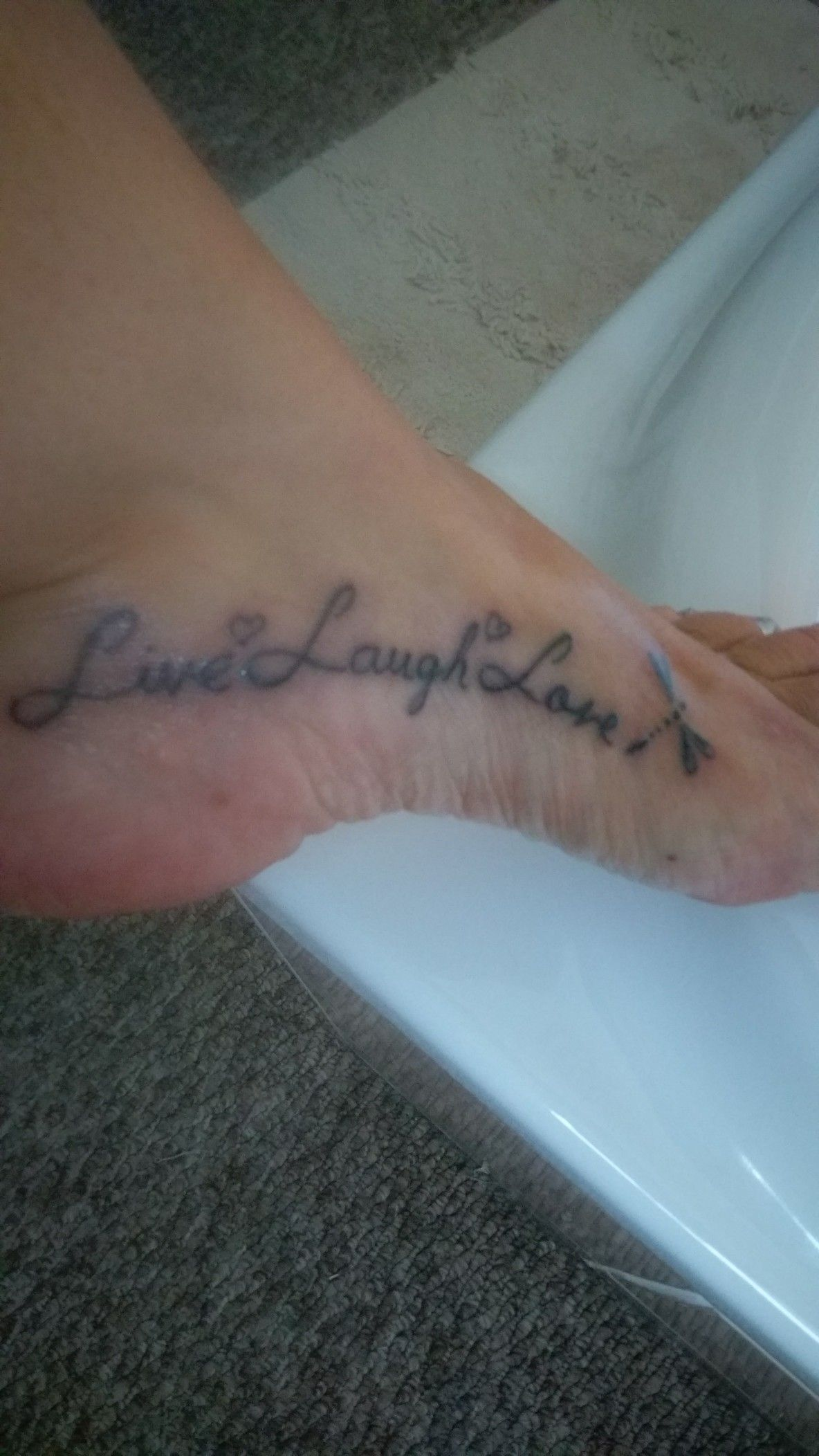 My Live Laugh Love foot tattoo (With images) Foot tattoo