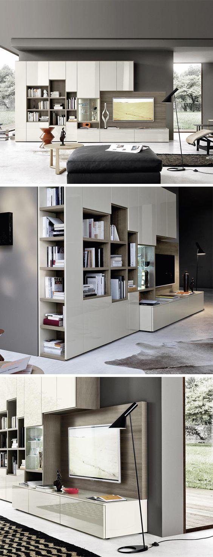 Livitalia Wohnwand mit Bücherregal C64   Salons and House