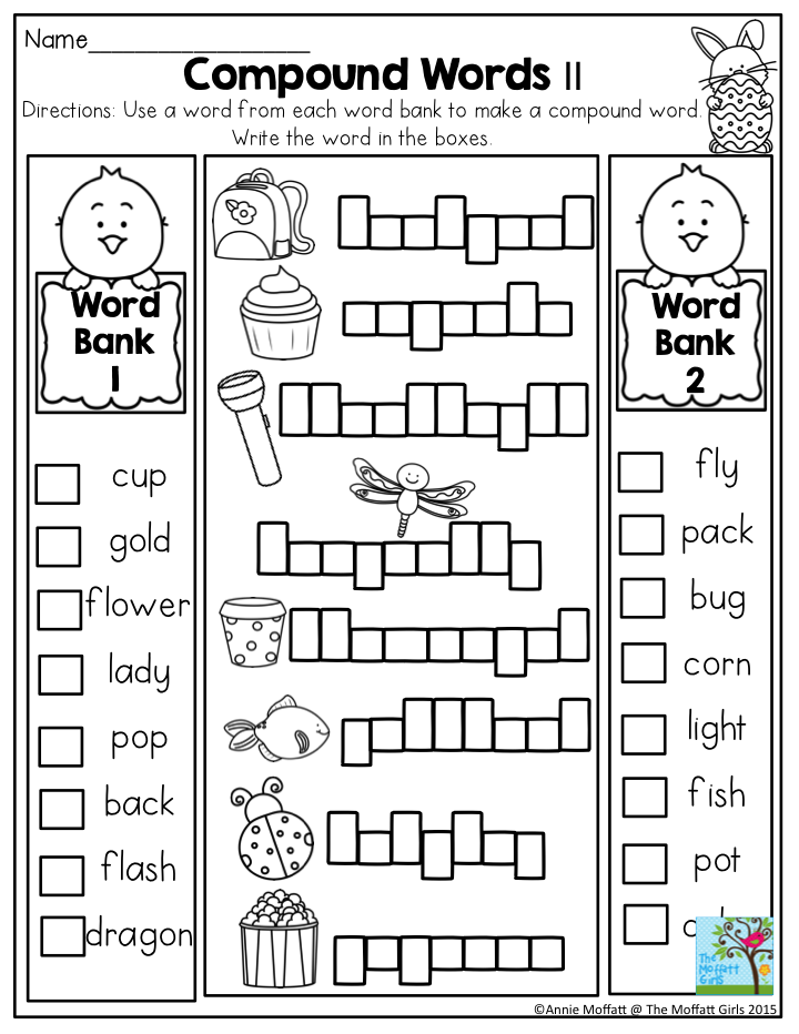 First Grade Compound Words Worksheet- In The NO PREP Packet For April! So  Many FUN Activit… First Grade Phonics, First Grade Worksheets, Compound  Words Worksheets