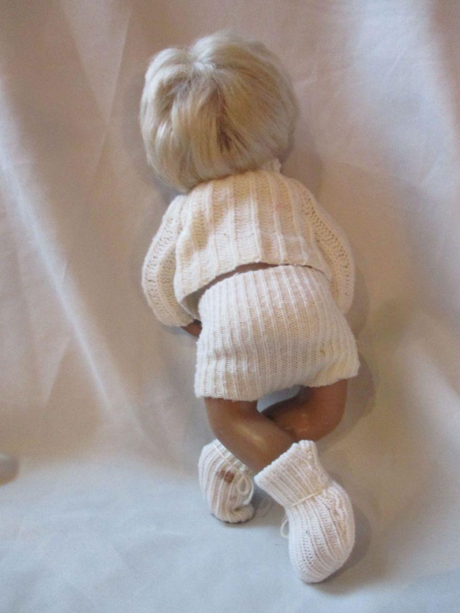 Vintage sasha baby boy sexed doll blonde hair brown eyes brown