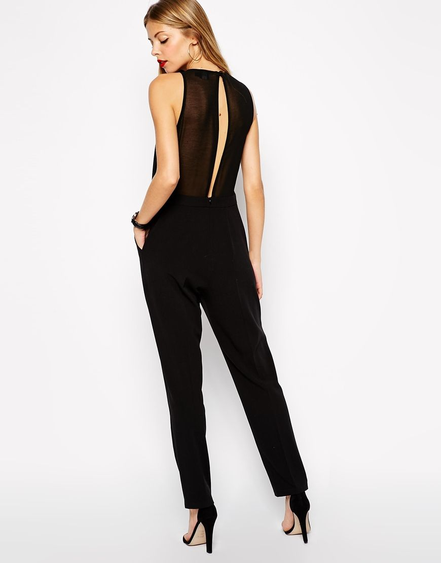 eb096b7875ca ASOS Chic Racer Jumpsuit with Sheer Back