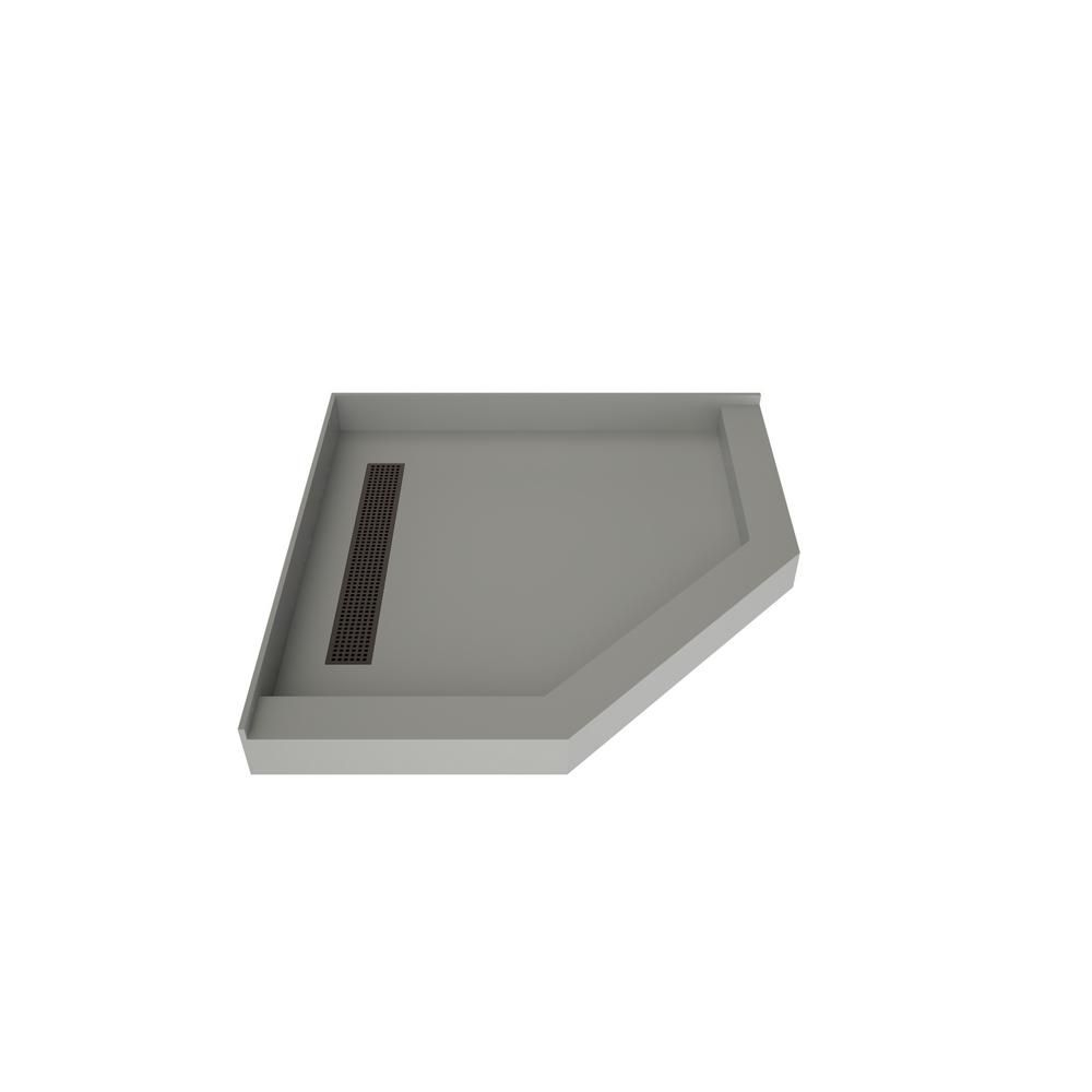 Tile Redi 40 In X 40 In Neo Angle Shower Base In Gray With Left