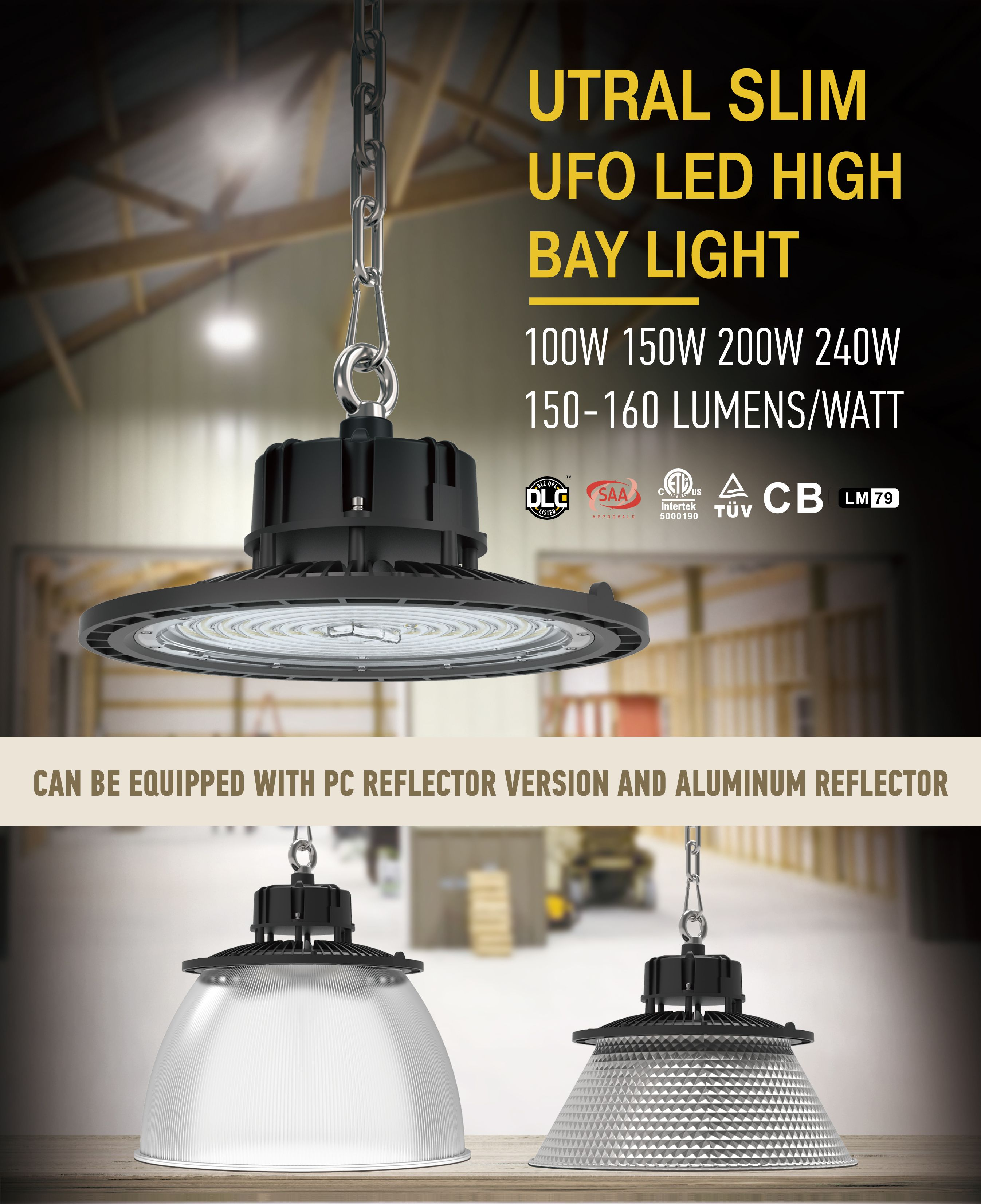 Ultra Slim Led High Bay Lights 100 240w Dlc Etl Tuv Warehouse Lighting High Bay Lighting Light High Bay Lights