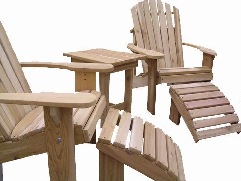 2 Adirondack Chairs 2 Ottomans And 1 End Table Unfinished 99