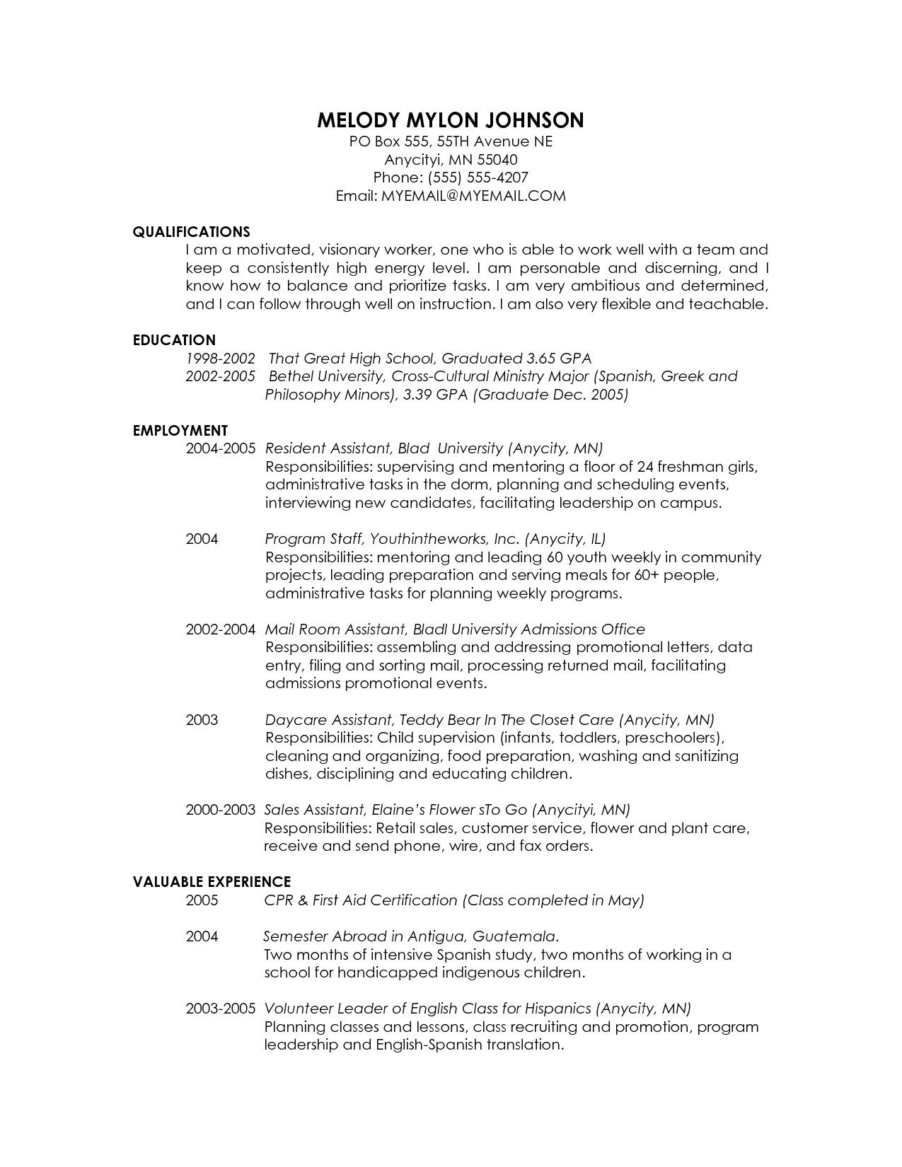 Resume Templates Grad School Resume for graduate school