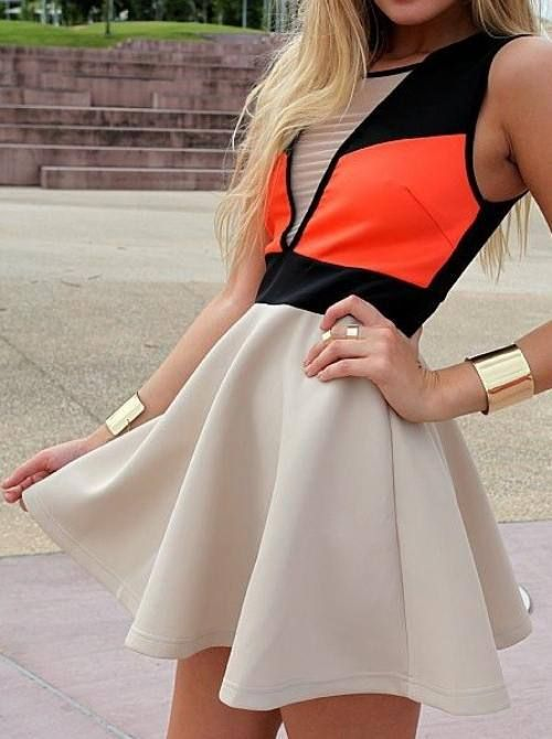 Summer Outfit neon nude orange dress The Fashion: Gorgeous dress black fur Summer outfits Teen fashion Cute Dress! Clothes Casual Outift for • teens • movies • girls • women •. summer • fall • spring • winter • outfit ideas • dates • school • parties mint cute sexy ethnic skirt