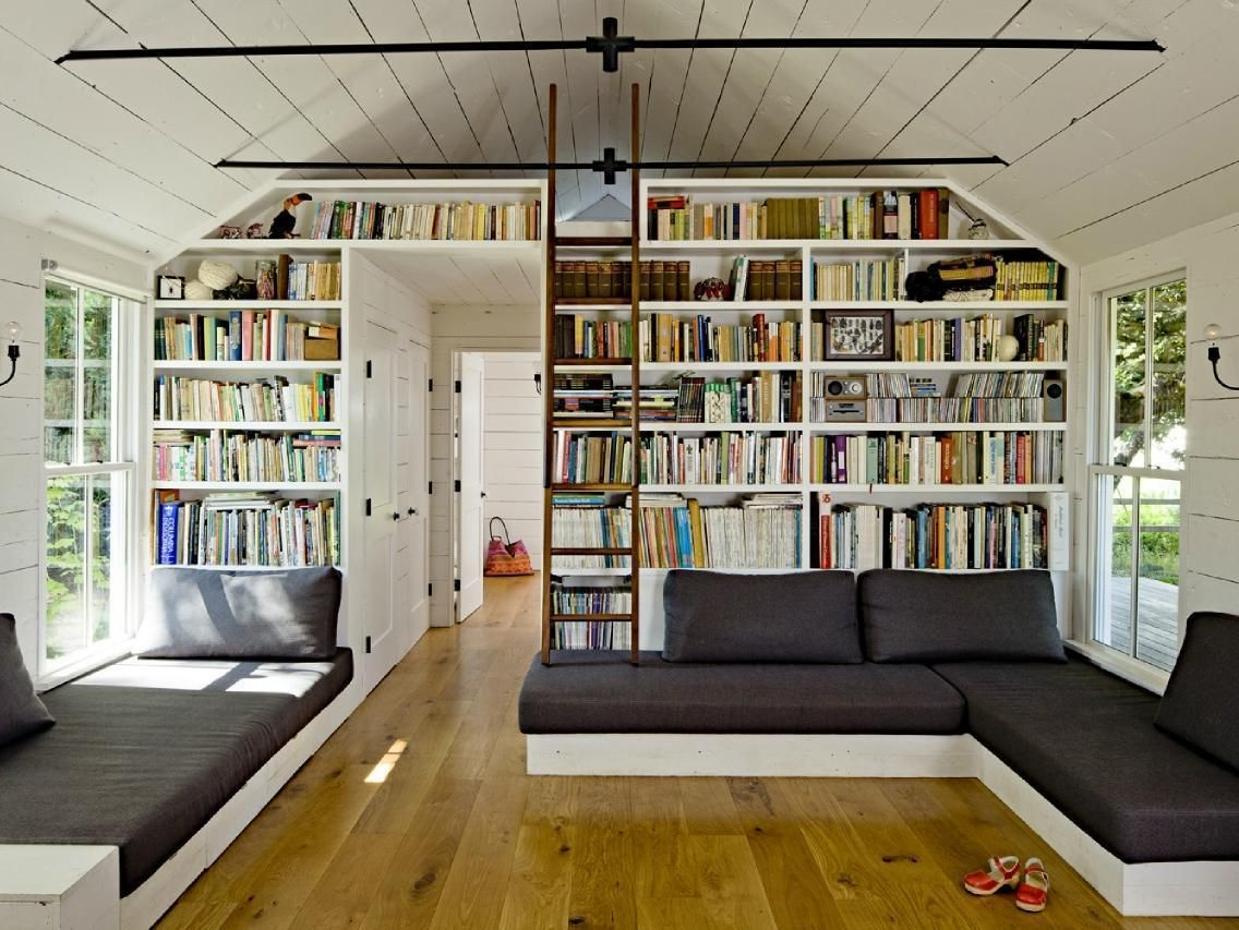 adorable bookcase desig in living room including gray fabric sofa on ...