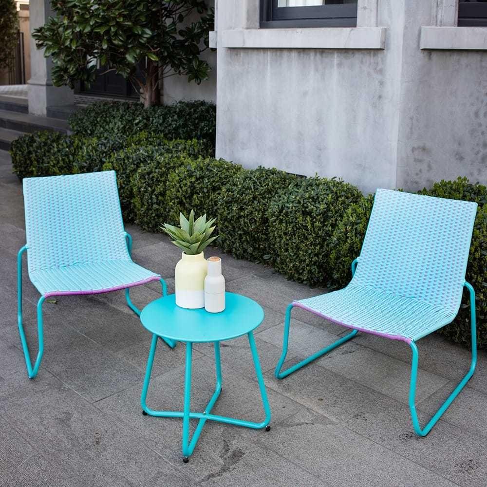Excalibur Outdoor Living Steel Belford 3 Piece Blue Coffee Set ...