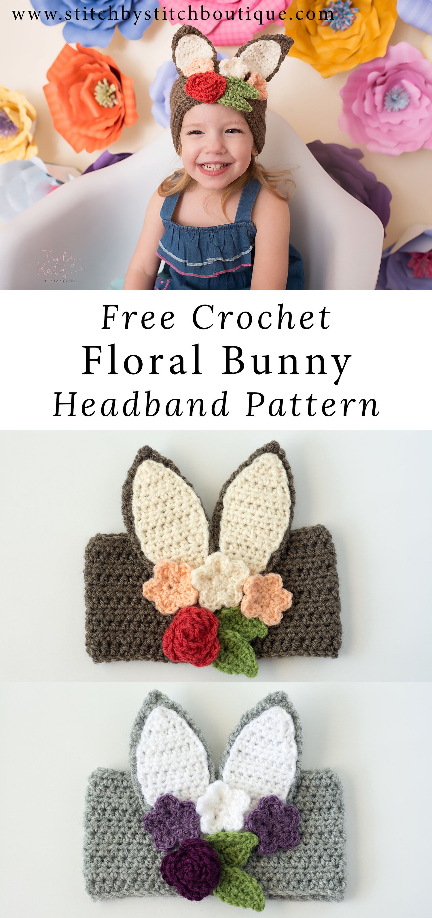 Free Crochet Floral Bunny Headband Pattern | Crochet Patterns ...