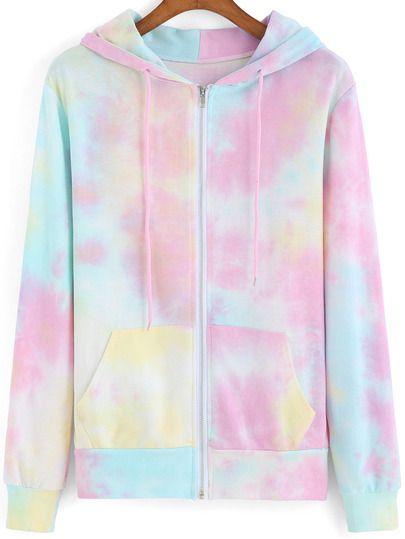 Multicolor Hooded Dye Drawstring Sweatshirt