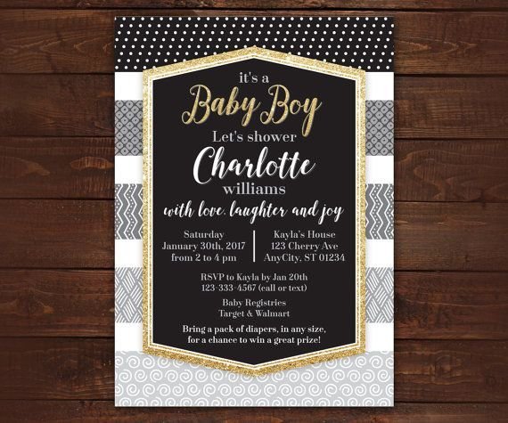 Black and White Glitter Invitation Baby Boy by LittleBeesGraphics