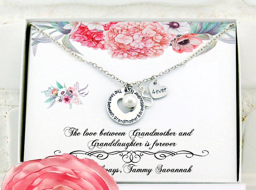 Mothers Day Gift Grandma Necklace For Birthday Grandmother Grandson Personalized Nana By