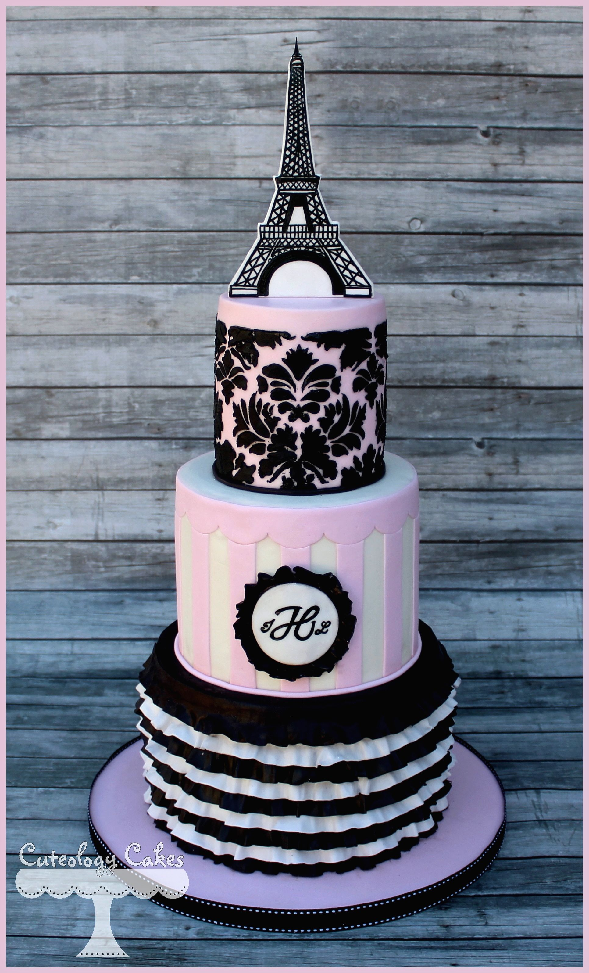Paris themed baby shower cake i loveteology