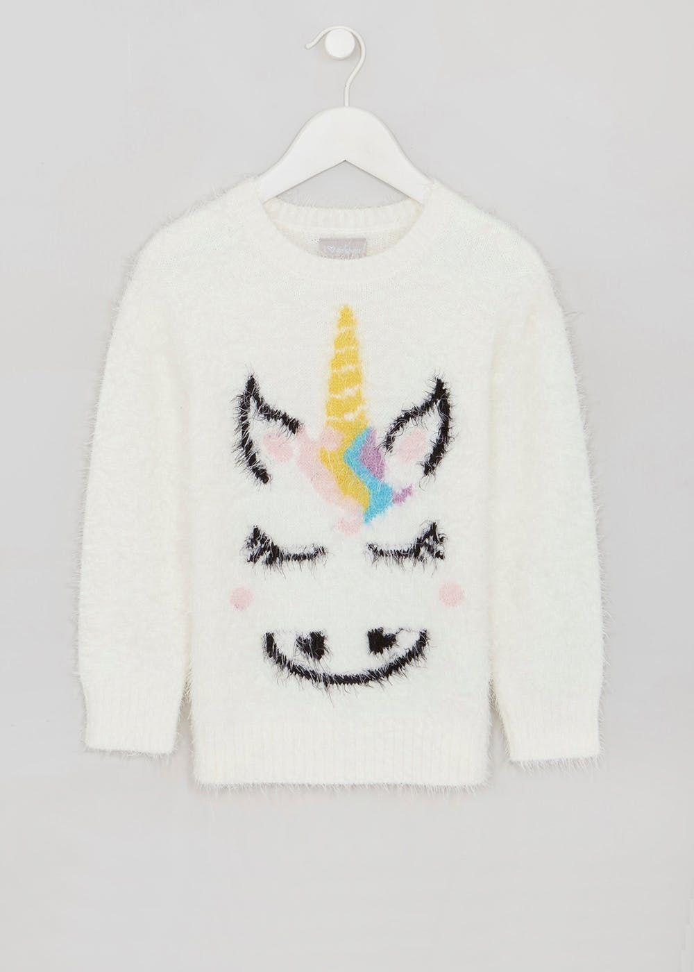 2cfe4fb5b974 Girls Unicorn Eyelash Knit Jumper (4-13yrs) – Cream | Alexa's back ...