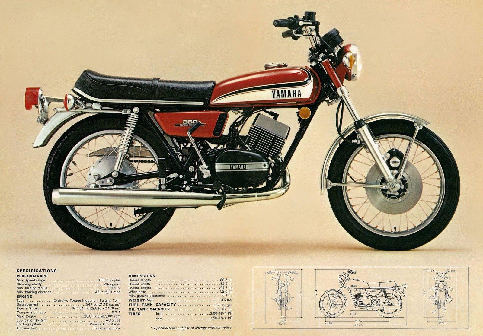 Details About Yamaha Brochure Rd350 1973 Action Shot Sales Catalog