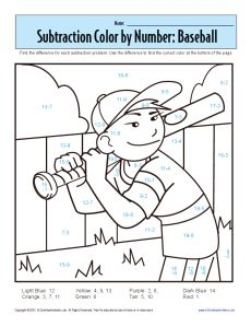 st grade addition and subtraction worksheets  subtraction color by  st grade addition and subtraction worksheets  subtraction color by number  baseball  kindergarten st grade math