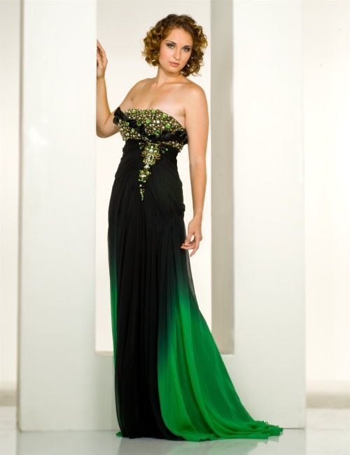 Green and Black Evening Dress