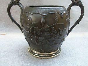 Superbe-Vase-boule-en-etain-ART-NOUVEAU-WMF-JUGENSTIL-decore-fleurs