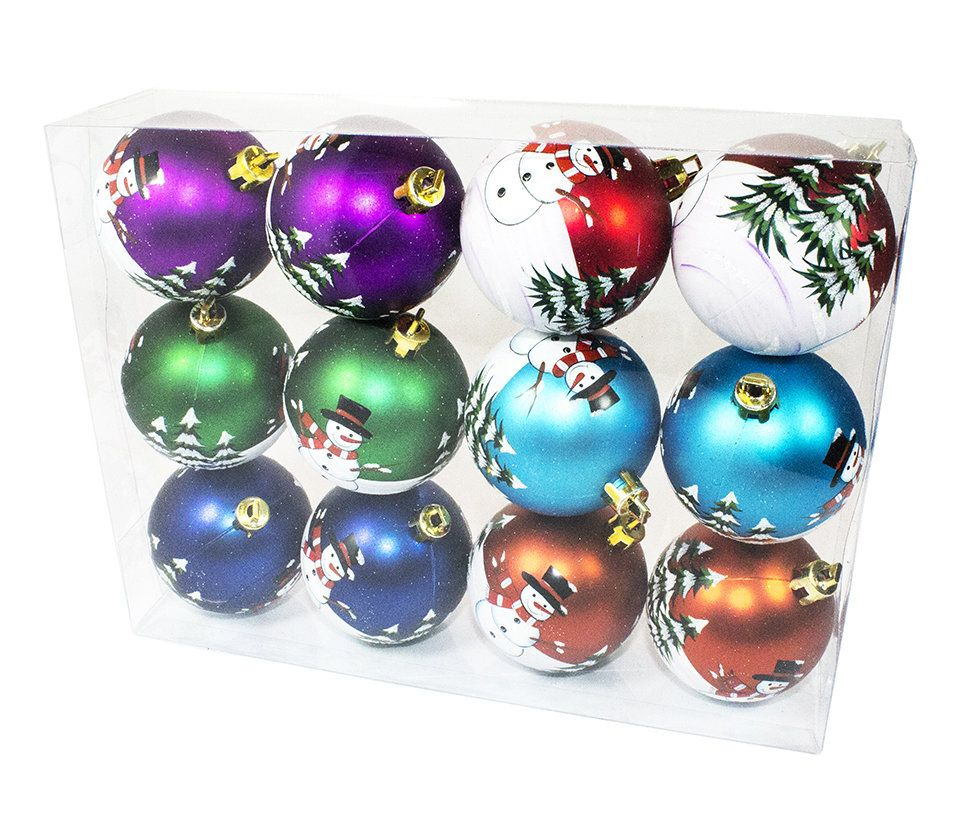 Color Ball Ornament with Snowman Design