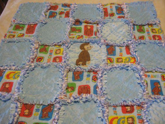Curious George Baby Boy Rag Quilt Blanket | Curious George ... : curious george quilt - Adamdwight.com
