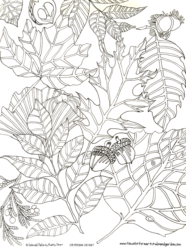 September © FALL LEAVES hand drawn coloring pages by artist Kathy ...