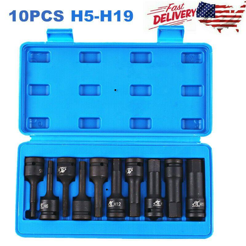 Ebay Advertisement 10pcs 1 2 Drive Allen Bit Socket Set Metric Hex Driver H5 To H19 Impact Grade Socket Set Sockets Hex