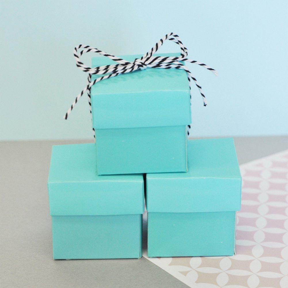 Mini Cube Boxes - Aqua Blue #aqua-blue-favor #aqua-blue-favor-box #aqua-blue-favor-boxes #aqua-blue-gift-box #aqua-two-piece-box #favor-boxes