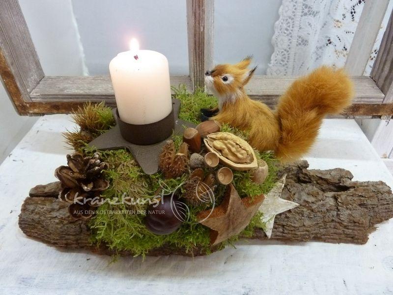 NATUR ♥Eichhörnchen♥ Adventsgesteck Auf Baumborke Von
