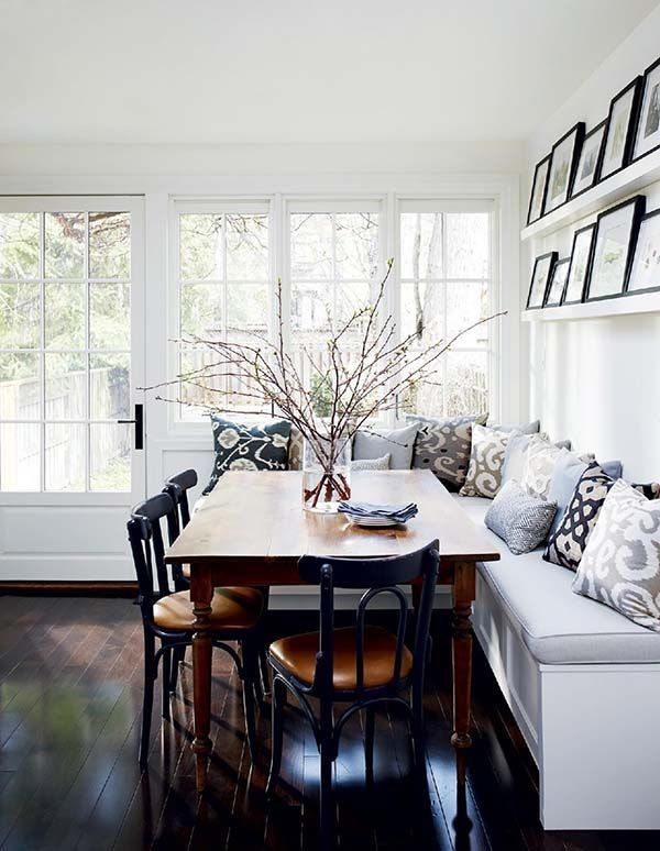 Big Fan Of The Ledge For Art Display Dining Room Design Dining Nook Banquette Seating