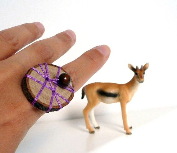 WOOD SLICE  embroidered ring by ixela on Etsy