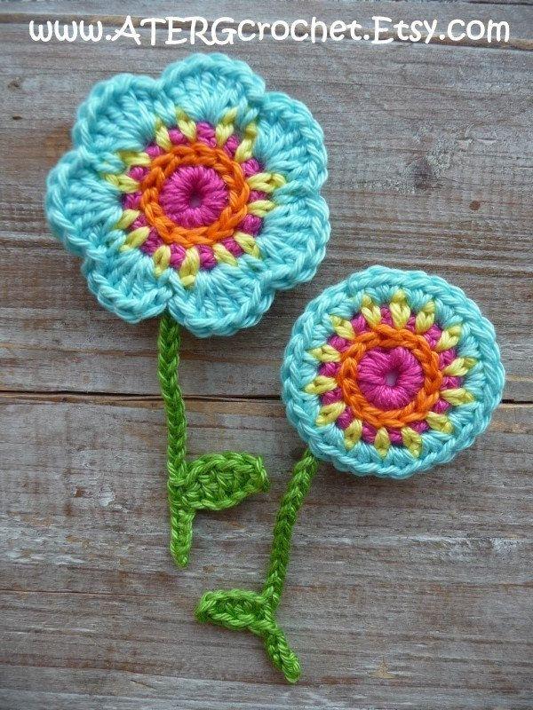 Florierend Muster Häkeln 3 Verschiedene Blumen Magnet Sets Das