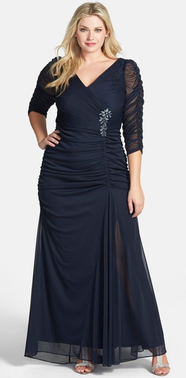 24 Plus Size Long Wedding Guest Dresses {with Sleeves} - Plus Size Gowns with Sleeves - Plus Size Fashion for Women - alexawebb.com #alexawebb