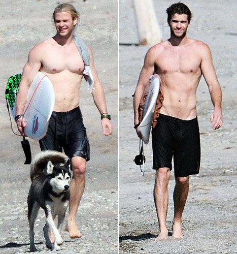Chris Hemsworth vs. Liam Hemsworth. It's a tough call but we still want you to tell Us which brother looks sexier shirtless!