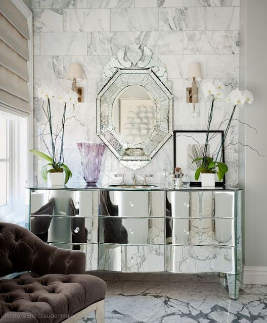 Mirrored console table in Living Room