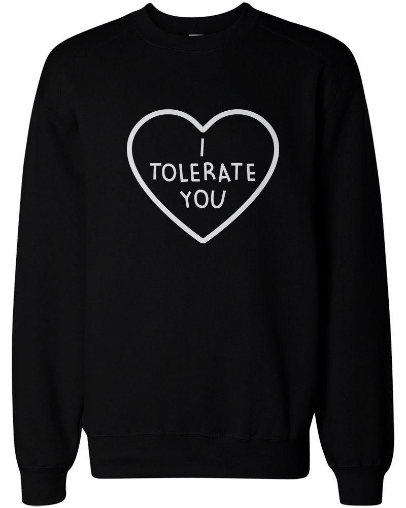 I Tolerate You Women's Cute Graphic Sweatshirt Black Crewneck ...