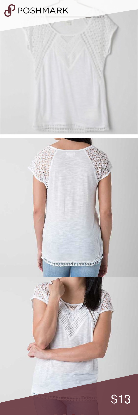 """Taylor and Sage lace Crocheted top size large Crocheted appliqué on hemline. Crocheted along fabric top length 25  1/4"""" bust 21"""" 100% Rayon. Crocheted is Polyester. Some signs of wear Taylor and Sage Tops Tees - Short Sleeve"""