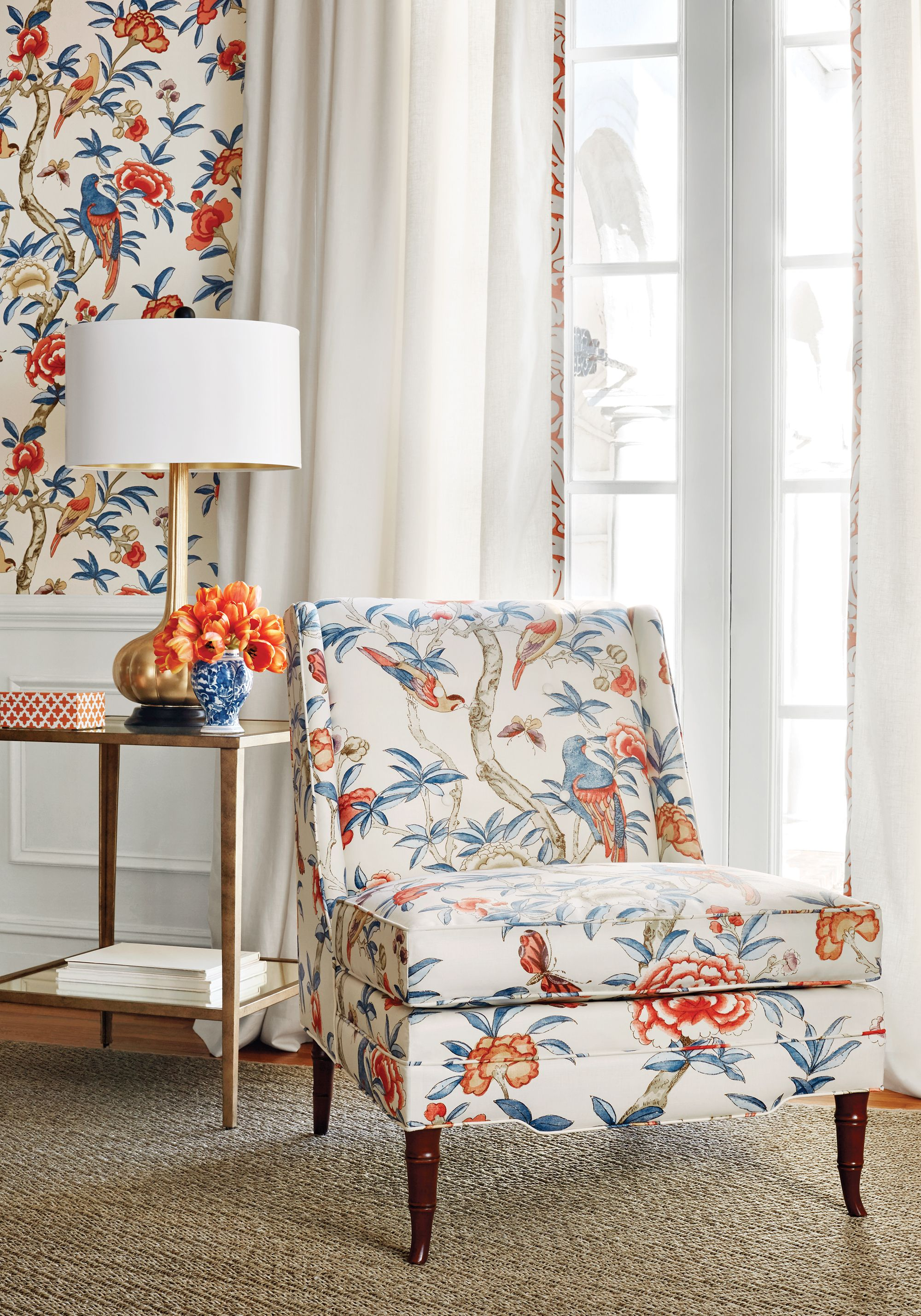 Bedford Chair from Thibaut Fine Furniture in Giselle printed fabric in Blue and Coral   Thibaut ...