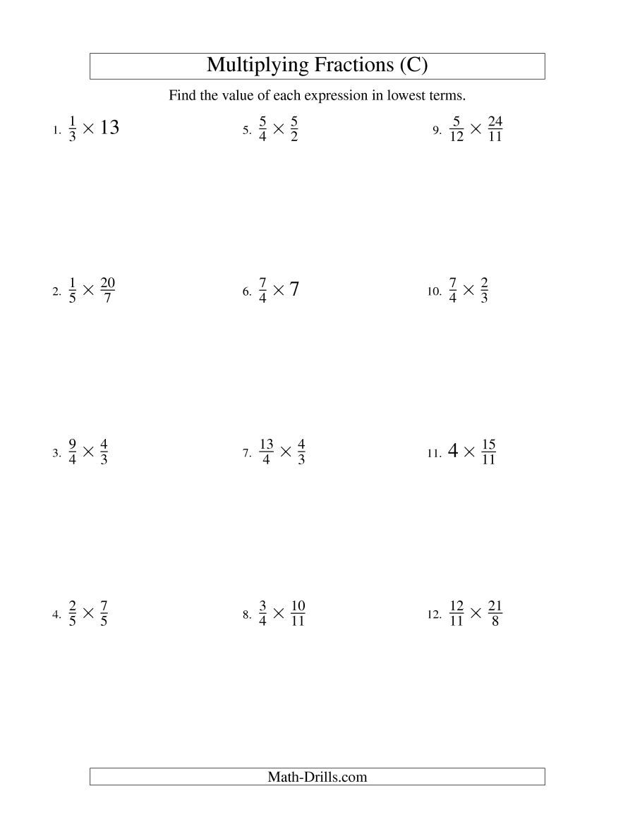 The Multiplying And Simplifying Fractions With Some Whole Numbers C Math Worksheet From The Fract Multiplying Fractions Fractions Worksheets Proper Fractions