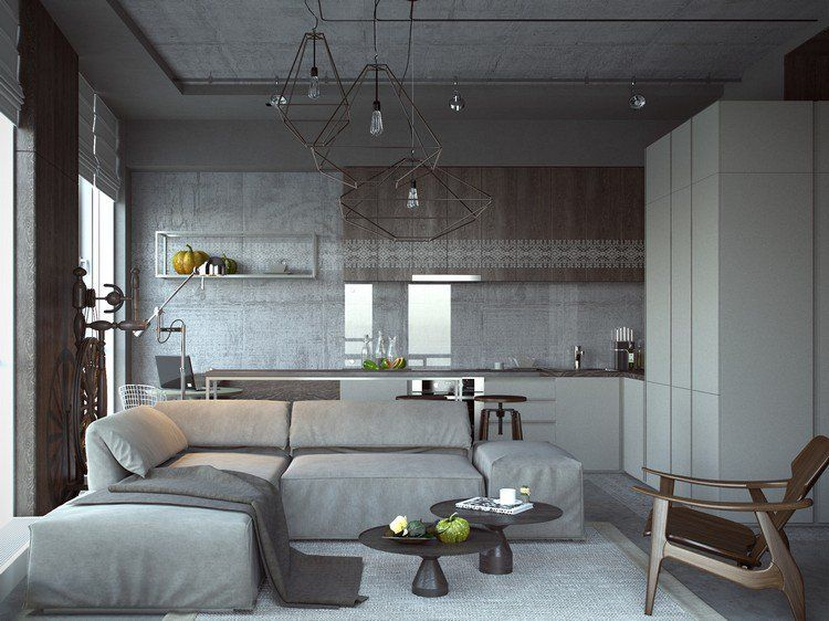 déco cuisine ouverte sur salon moderne, plafond en béton, canapé d
