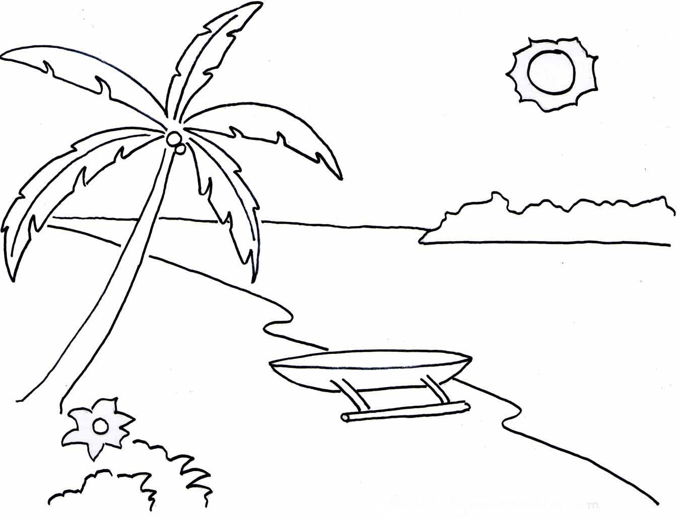 10 Mewarnai Gambar Pemandangan Alam Pantai