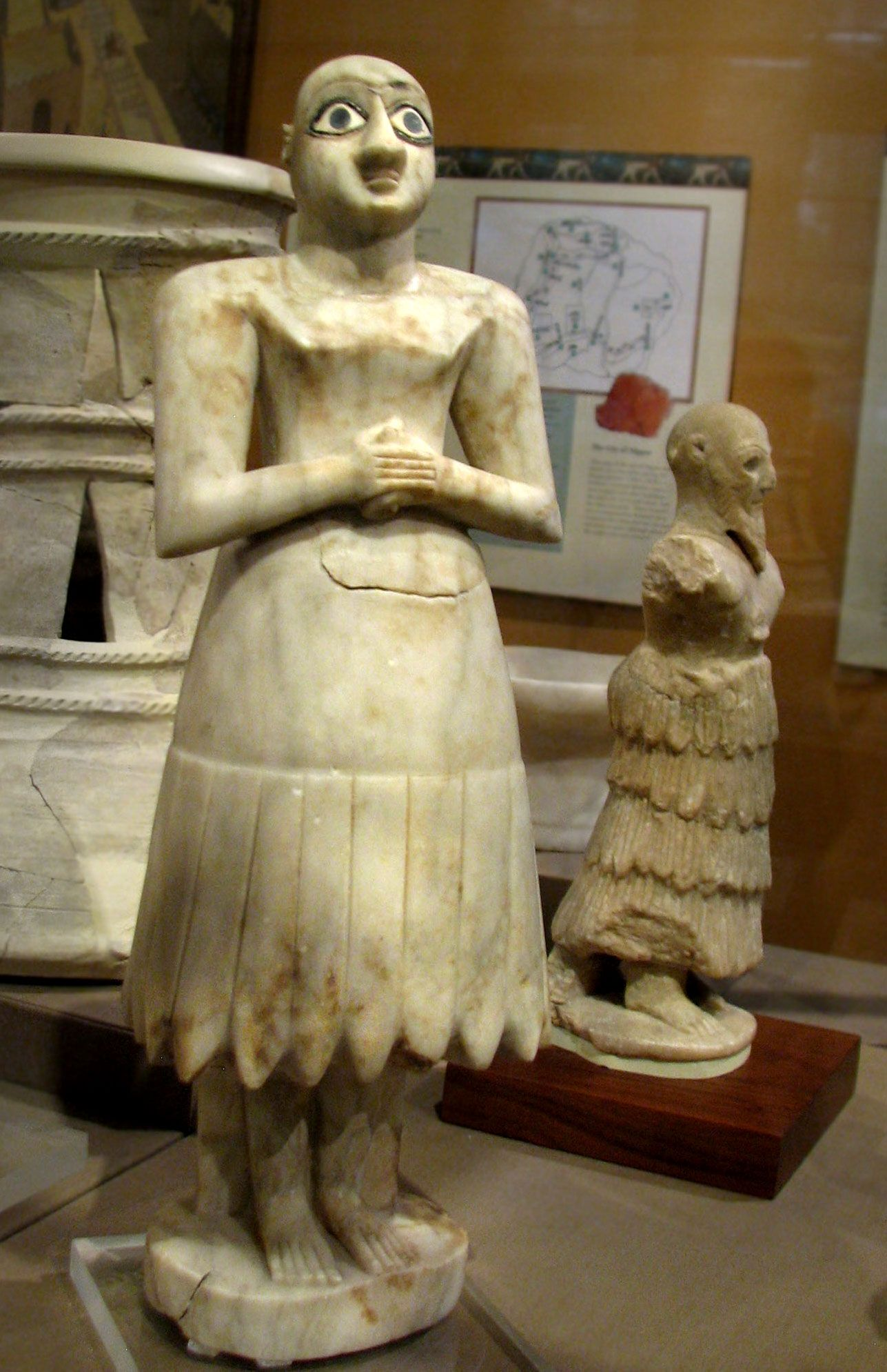 Statues from Tell Asmar,c2900-2600 BCE limestone alabaster and