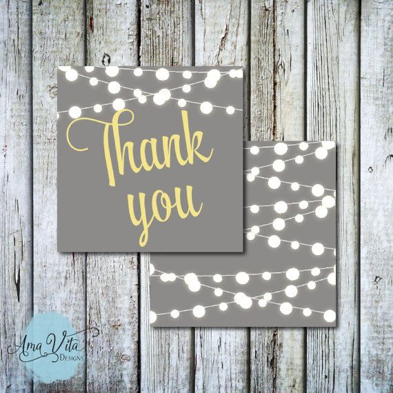 INSTANT DOWNLOAD - String of Lights Party Favor Square Thank You Tag #party #printable #diy #partyfavor