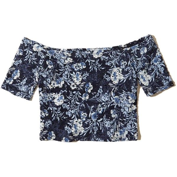 Hollister Off The Shoulder Lace Crop Top 175 Egp Liked On Polyvore Featuring Tops Hollister Navy Floral L Navy Blue Lace Top Navy Lace Top Blue Crop Tops