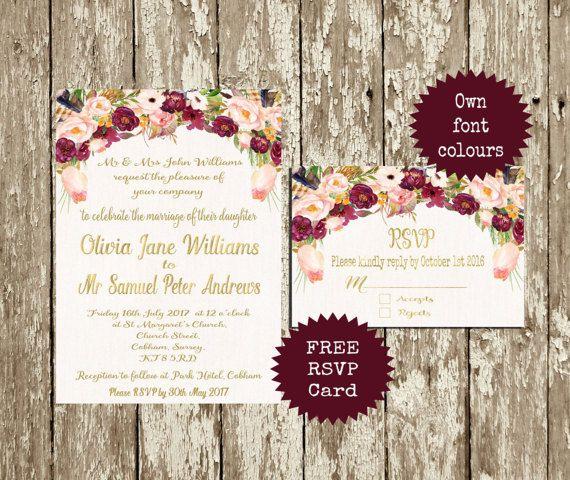 Do Your Own Wedding Invitations: Marsala Wedding Invitation Printable Wedding Invitation