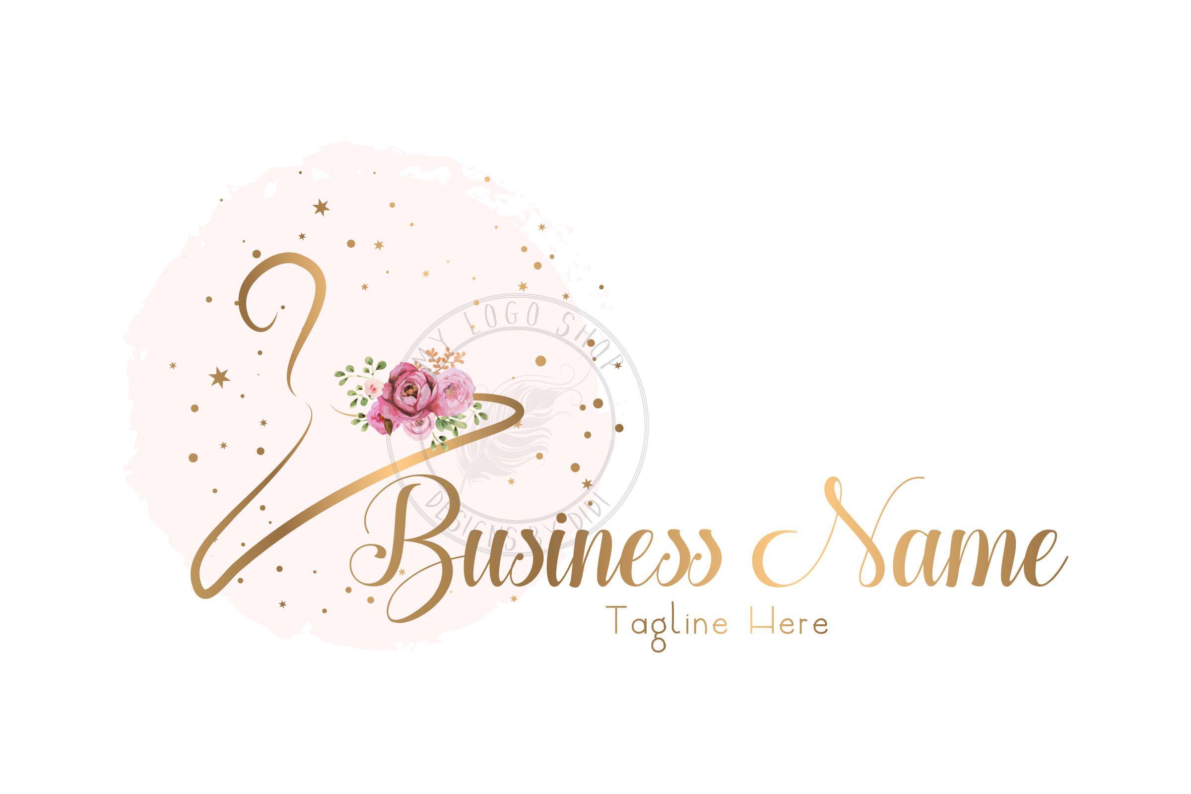 Custom Logo Design clothes hanger Logo fashion gold