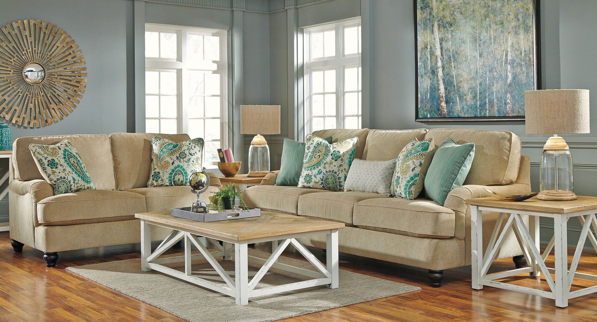 Pops Of Paisley And Cool On Trend Hues Lend Lochian S Living Room Set By Benchcra Coastal Style Living Room Coastal Living Room Furniture Coastal Living Rooms Paisley couch living room furniture