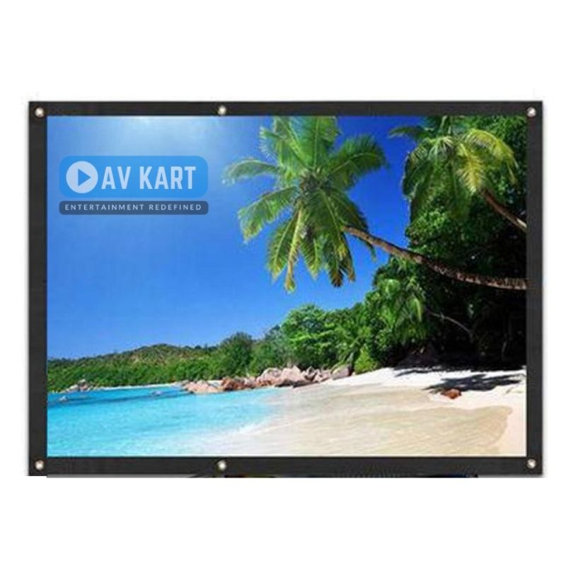 Eyelet Projection Screen 60 Inches Height X 80 Inches Width Diagonal 100 Inches Projection Screen Screen Outdoor Theater