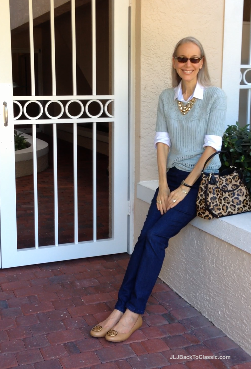 (Video) Mint Talbots Sweater, Side-Zip Skinny Jeans, Coach Leopard-Print  Bag, and Tory Burch Flats