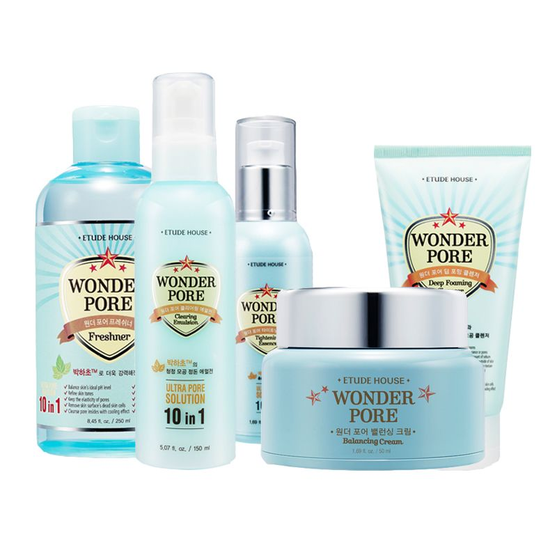 Etude House Wonder Pore 5set Emulsion Freshner Cream Foam Essence Beautynetkorea Korean Cosmetic Wonder Pore Skin Care Acne Skin Cream Anti Aging